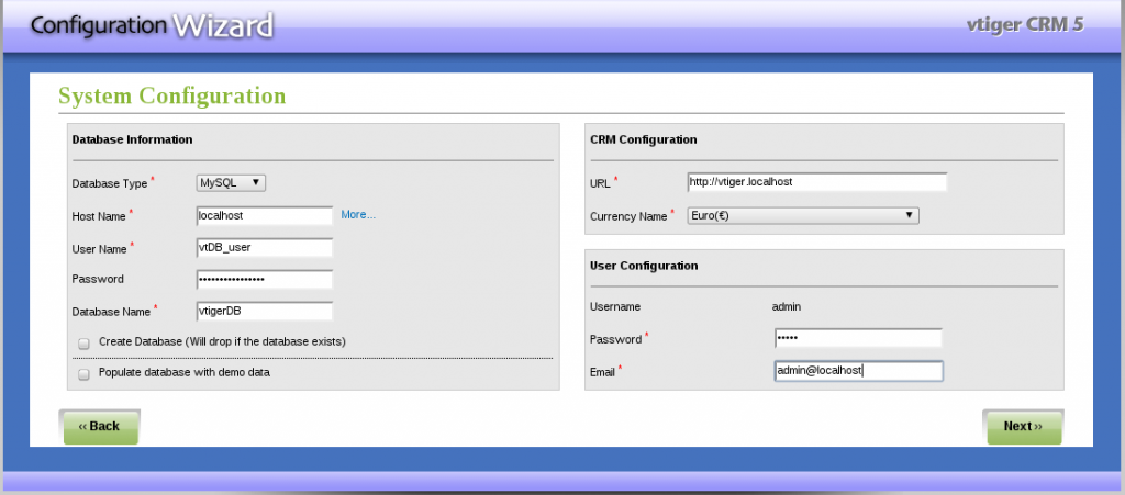 Instalación VTiger - Paso 4: Configuración base de datos y acceso