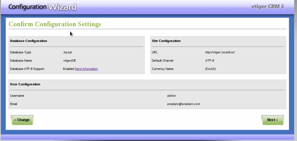 Instalación VTiger - Paso 5: confirmación de la configuración