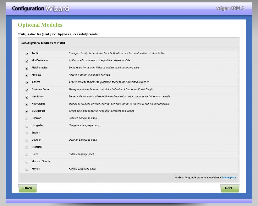 Instalación VTiger - Paso 6: selección de módulos opcionales