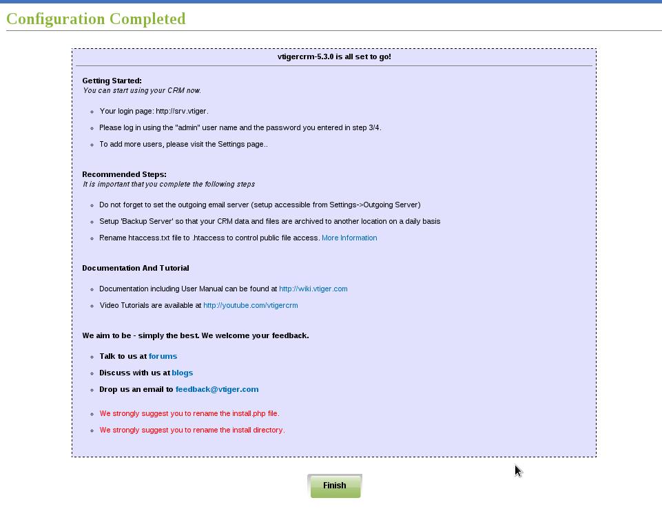 Instalación VTiger - Paso 7: resumen instalación