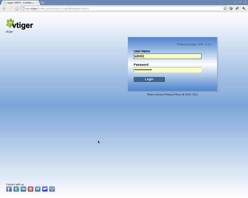 Instalación VTiger - Paso 8: accediendo a VTiger