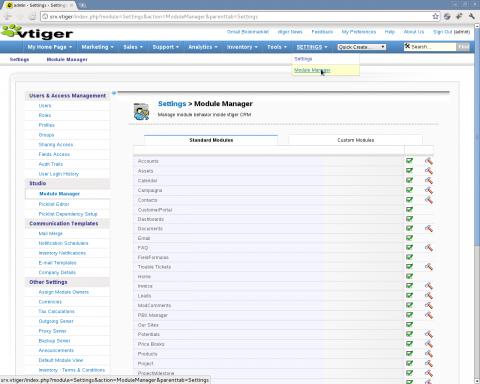 Instalación VTiger spanish language pack - Paso 1: gestor de módulos