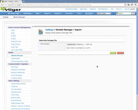 Instalación VTiger spanish language pack - Paso 2: importación del módulo