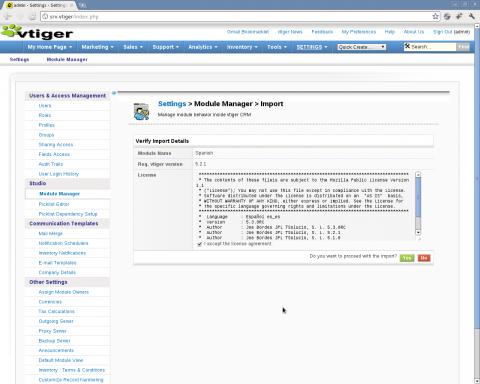 Instalación VTiger spanish language pack - Paso 3: confirmar importación