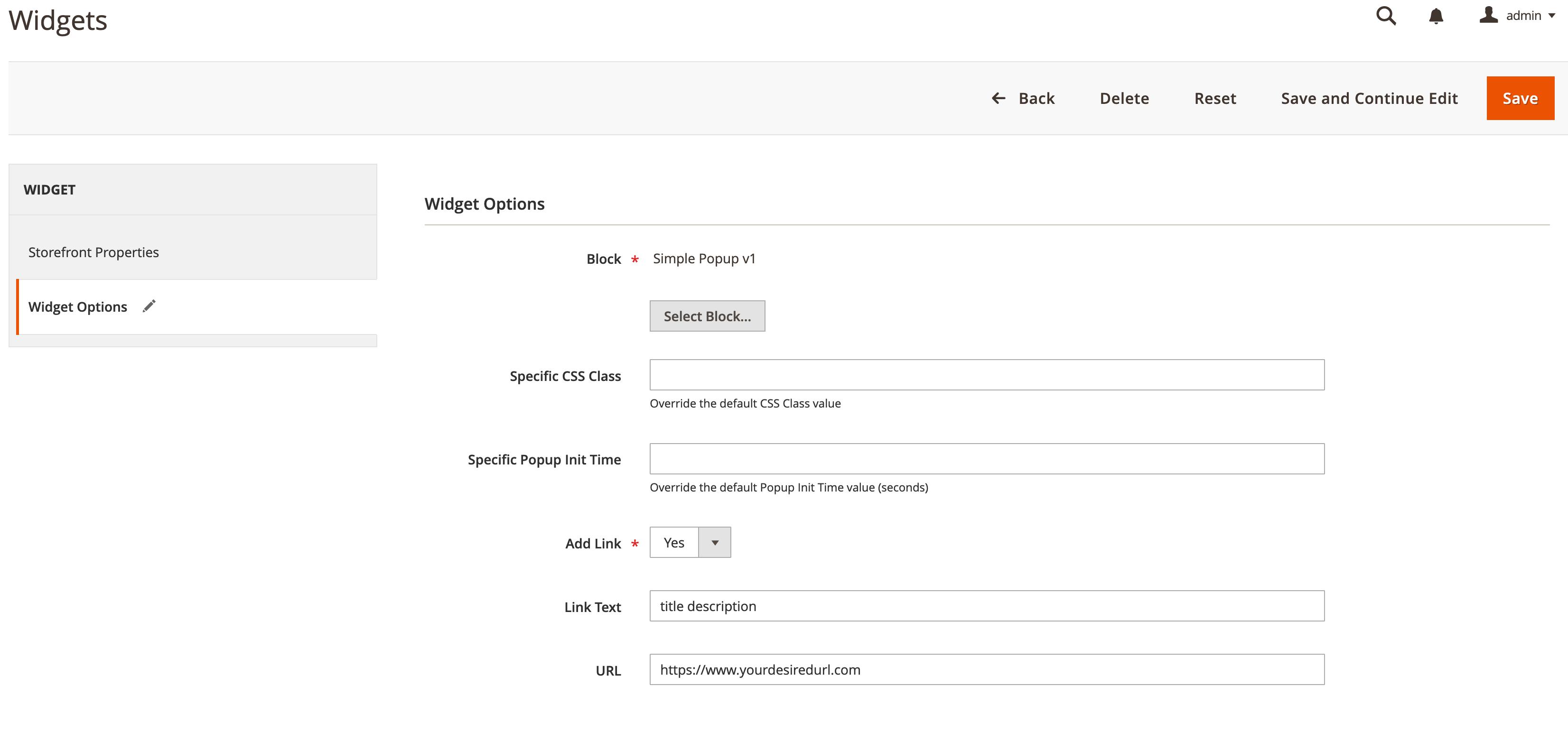 Magento2-SimplePopupWidget-WidgetOptions